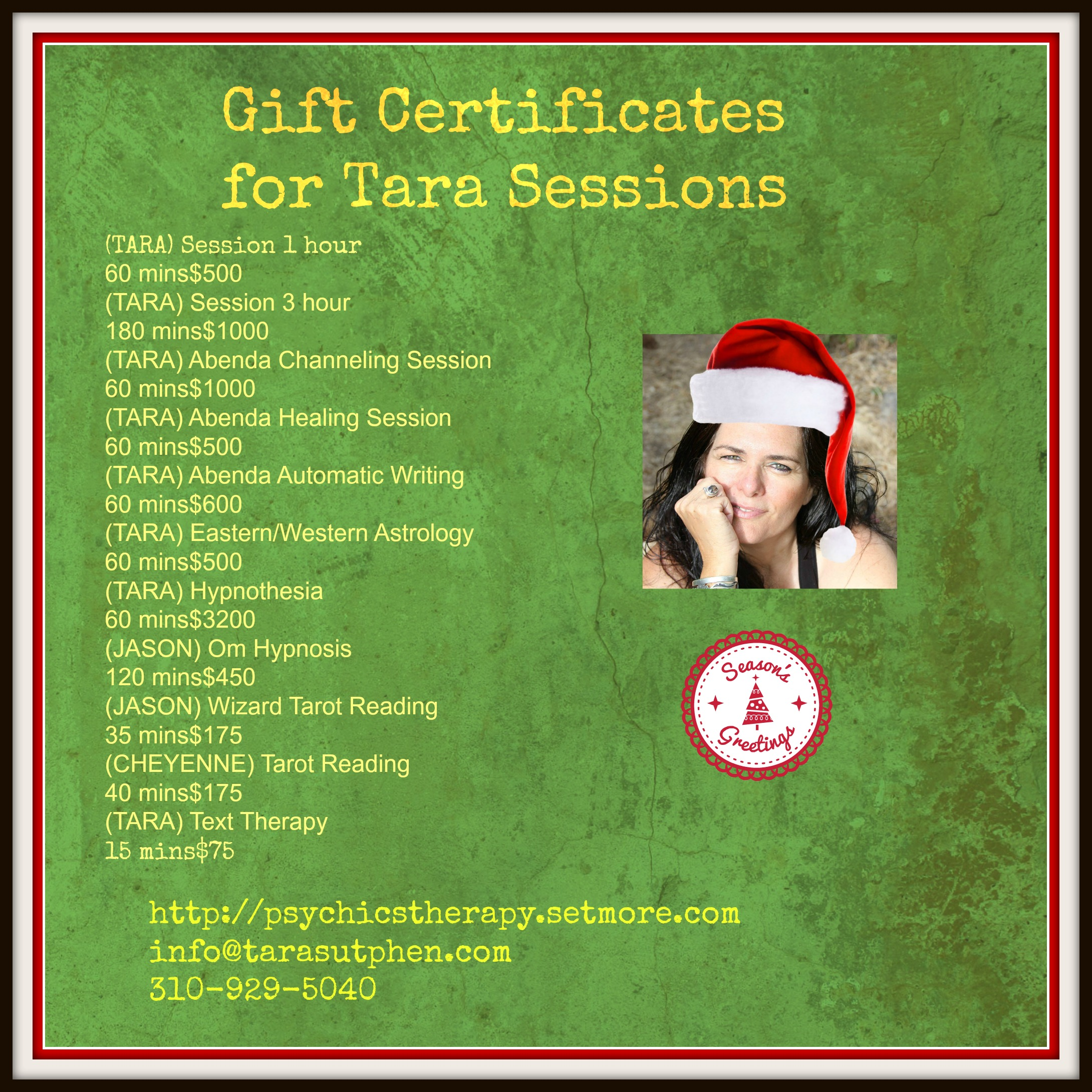 gift certificates Tara sessions